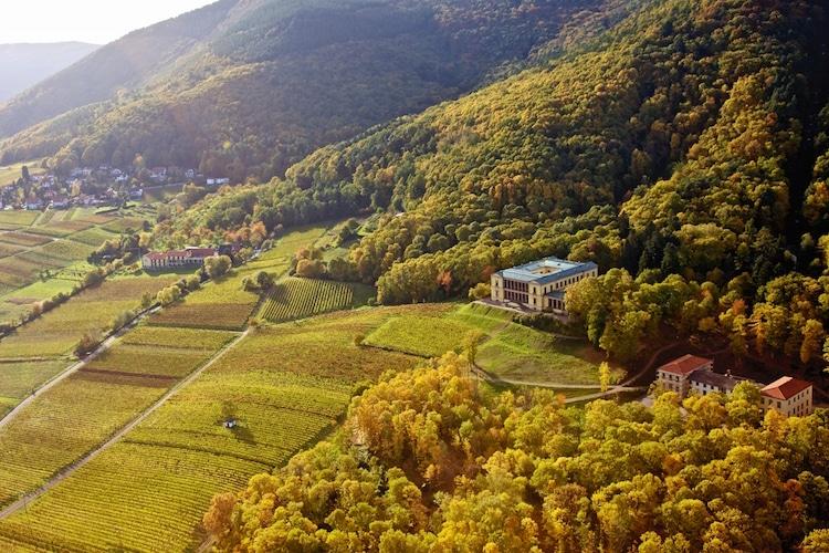 SÜW Luftaufnahme Villa Ludwigshöhe Südliche Weinstrasse Foto:  © Südliche Weinstrasse e.V