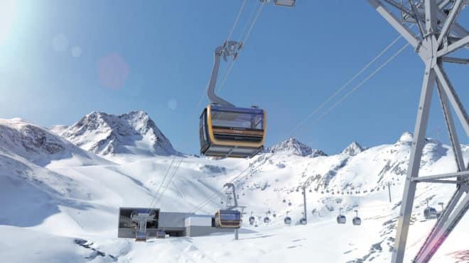 Mit der neuen 3S Eisgratbahn komfortabel zum Stubaier Gletscher Bildnachweis: Stubaier Gletscher/renderwerk.at