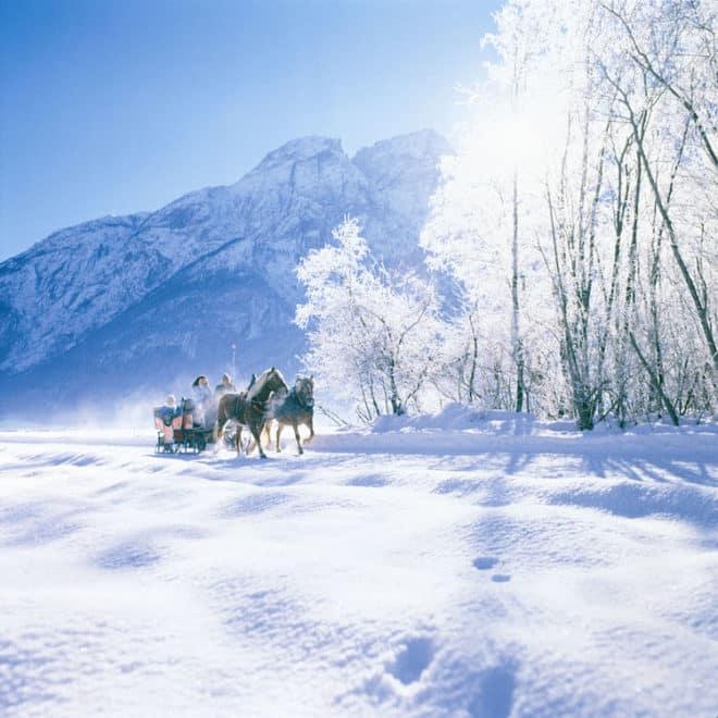 Jingle Bells im Schnee. Romantischer kann man seinen Winterurlaub nicht verbringen, nach einer Schlittenfahrt durch das Winterwunderland wartet in einem der Spitzcial Hotels schon die wohltuende Sauna. (Foto: epr/Osttirol Werbung/TVB)