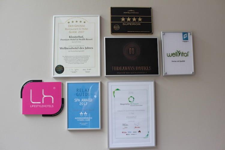 Einige Auszeichnungen hat das Hotel Klosterhof bereits erhalten