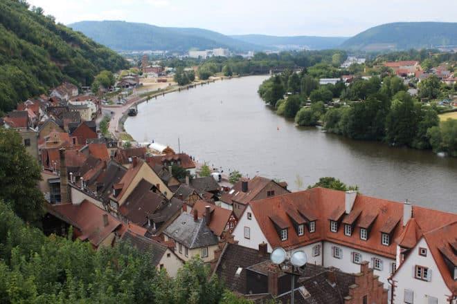 Blick von der Mildenburg aus auf den Main