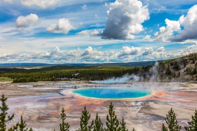 Naturschutzgebiete wie der Yellowstone-Nationalpark im Nordwesten der USA ist bekannt und beliebt für seine reichhaltige Flora und Fauna.