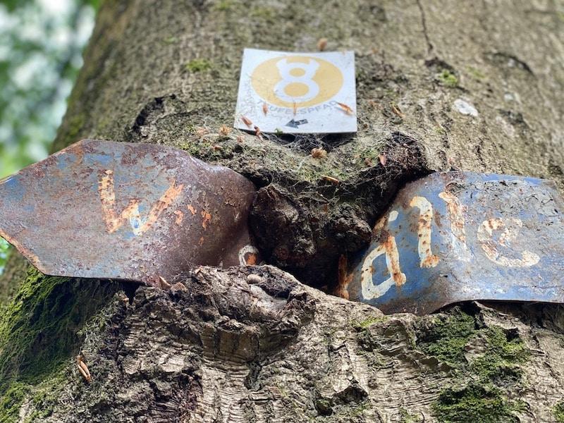 """""""Teufelszeug"""" in der Teufelsschlucht? Sieht so aus als ob der Baum das Hinweisschild verspeist"""