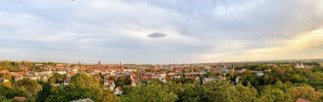 Halle an der Saale Sachsen-Anhalt - Panoramaaufnahme vom Bergzoo Turm aus